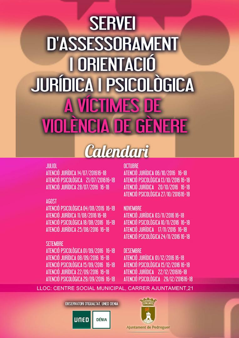 Pedreguer habilita un Servei d'Assessorament i Orientació Jurídica i Psicològica a Víctimes de Violència de Gènere