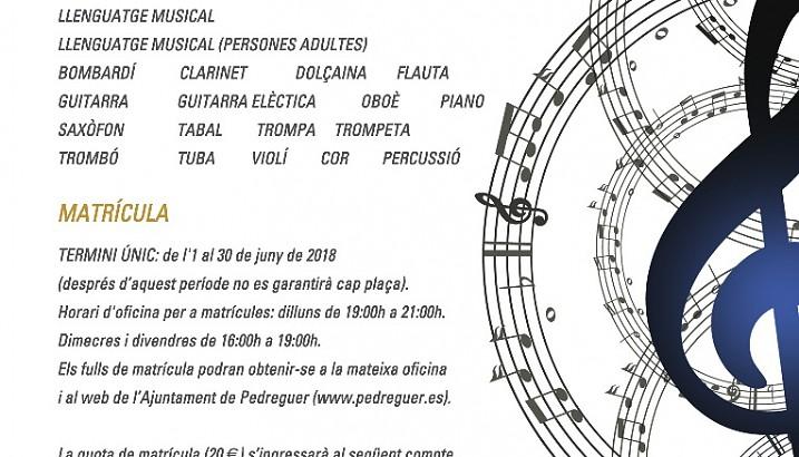Matrícula al Conservatori i Escola de Música (curs 2018-2019)