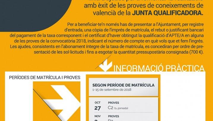 Ayudas para la realización con éxito de las pruebas de valenciano de la Junta Qualificadora