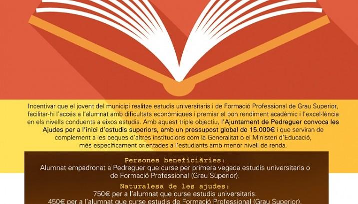 Convocatoria de las III Ayudas al inicio de estudios superiores