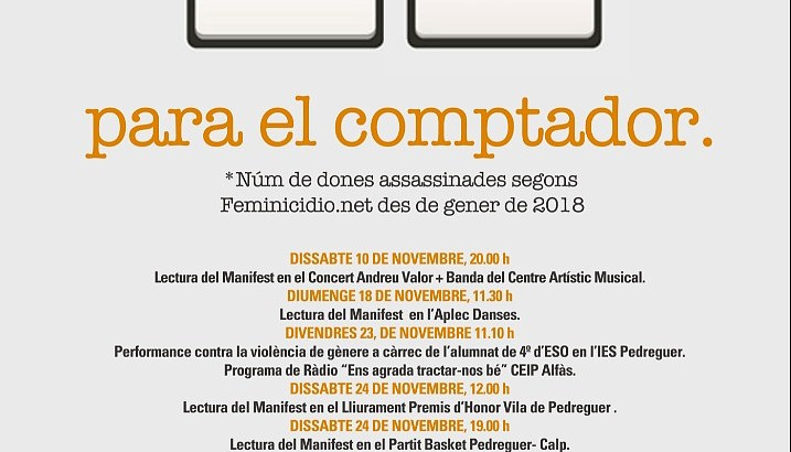 """Pedreguer presenta la campanya """"Para el Comptador"""" per al Dia Internacional contra la Violència de Gènere"""