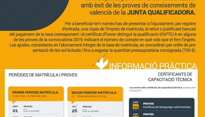 Ajudes per a la realització amb èxit de les proves de valencià de la Junta Qualificadora (2019)