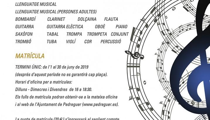 Matrícula al Conservatori i Escola de Música (curs 2019-2020)