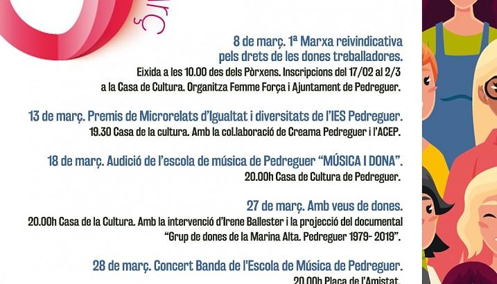 Pedreguer presenta la seua programació per al mes de març baix el lema A Pedreguer Juntes, visibles i presents