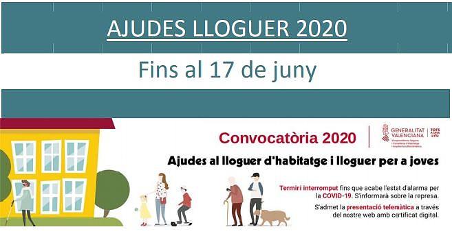 AVÍS IMPORTANT: es reprenen els terminis per a sol·licitar les ajudes al lloguer 2020