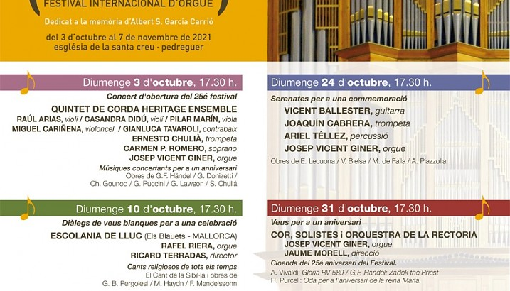El Festival Internacional d'Orgue de Pedreguer celebra el seu 25 aniversari