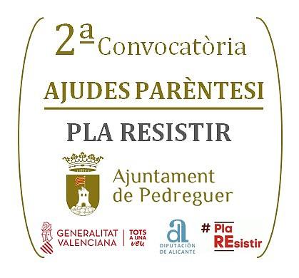2ª convocatòria Ajudes Parèntesi del Pla Resistir a Pedreguer