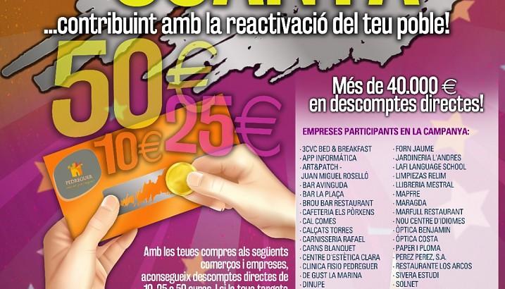 El Ayuntamiento de Pedreguer destina borde 40.000 € en descuentos para consumir en empresas locales